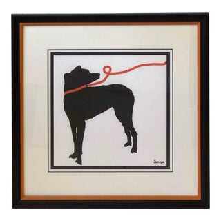 Stylized Artwork of a Dog on Orange Leash For Sale