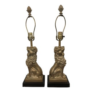 Gold Vintage 20th Century Foo Dog Lamps - a Pair For Sale