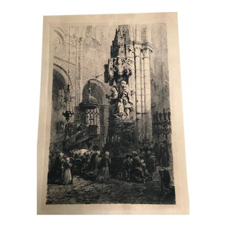 Axel Haig Re-Proof Painted Lithograph of Burgos Cathedral in Burgos Spain For Sale