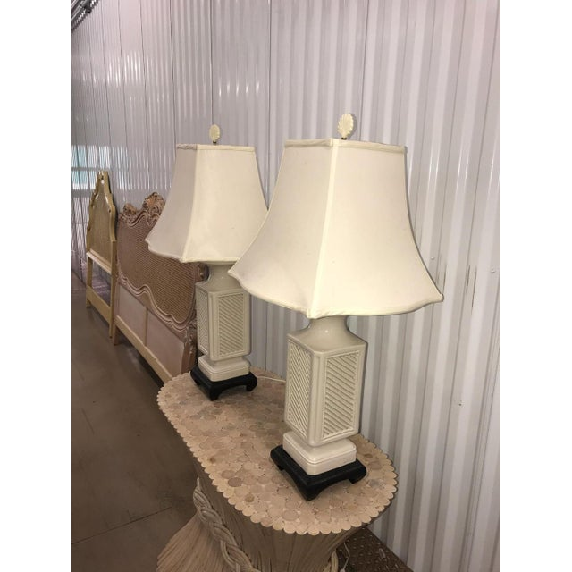 Asian Vintage Italian White Ceramic Black Wood Scroll Base Lamps - a Pair For Sale - Image 3 of 8