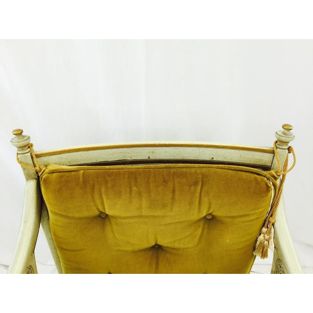 French-Style Gold Velvet & Cane Armchair - Image 11 of 11