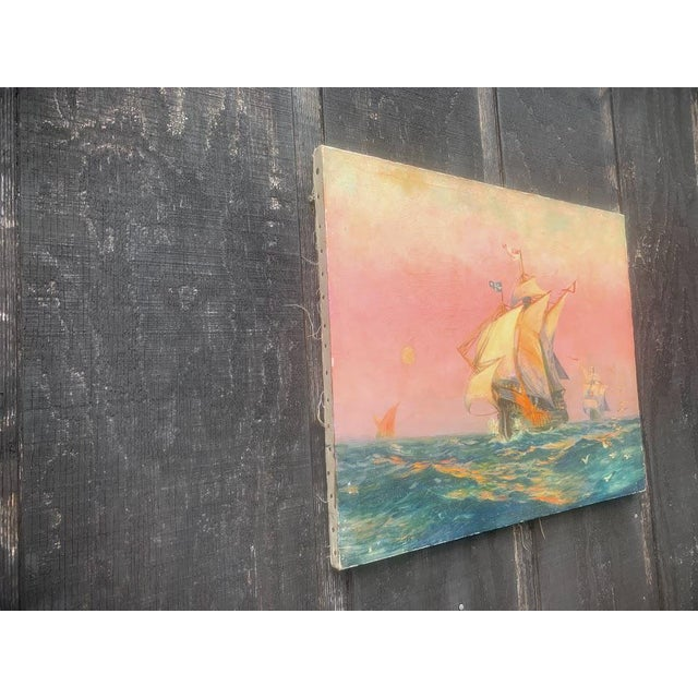 Tall Ship Oil Painting Signed C. Freitas For Sale - Image 4 of 12