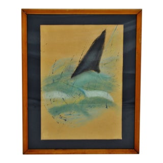 Vintage Framed Mixed Media Abstract Shark Fin Drawing For Sale