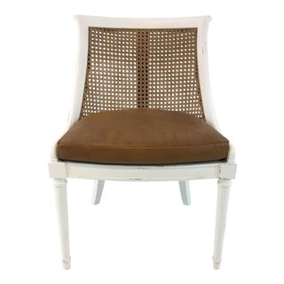 Transitional Bungalow 5 Caned, Leather Bay Arm Chair For Sale