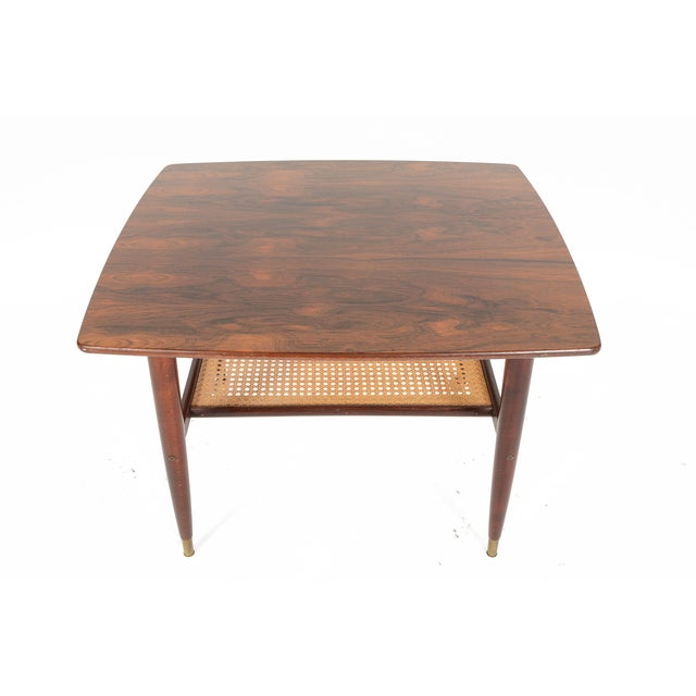 Danish Modern Rosewood Side Table With Rack - Image 4 of 7