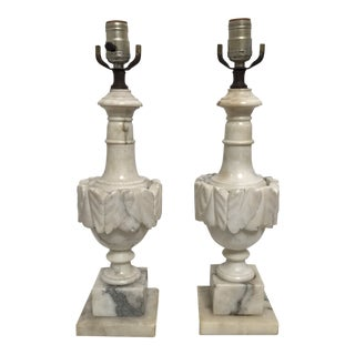 Antique Italian Neoclassical Carved White Marble Lamps - A Pair For Sale