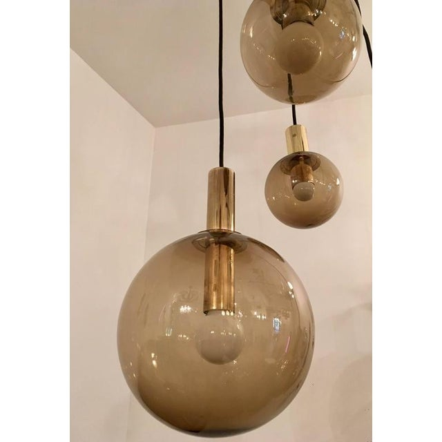 Contemporary 1970s Raak Dutch Smoked Glass Globe Ceiling Light For Sale - Image 3 of 10