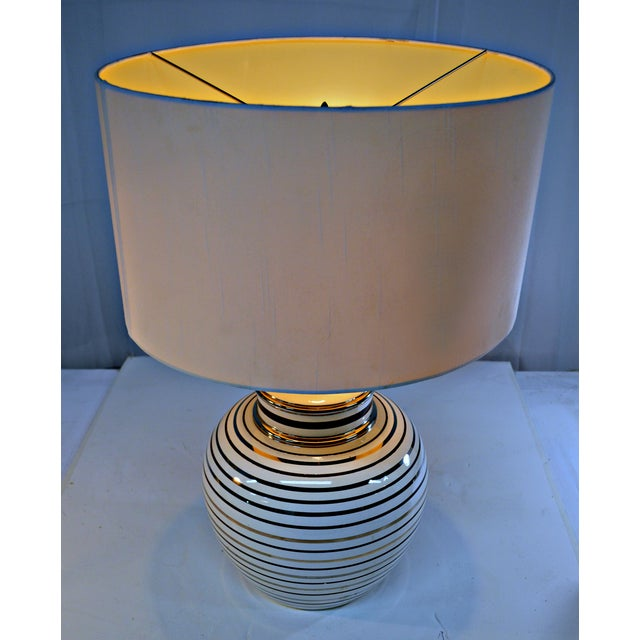 Mid Century Bowl Table Lamp & Drum Shade - Image 6 of 10