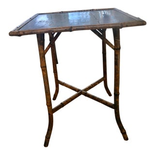Antique English Chinoiserie Scorched Bamboo Table For Sale