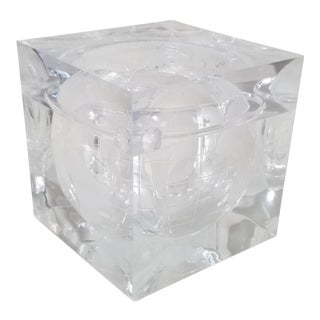 Italian Alessandro Albrizzi Lucite Ice Bucket With World Etched . For Sale