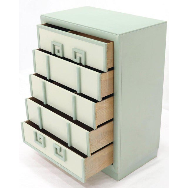 Kittinger Mandarin Chest Dresser Blue and White Lacquer Five Drawers - A Pair For Sale - Image 9 of 13