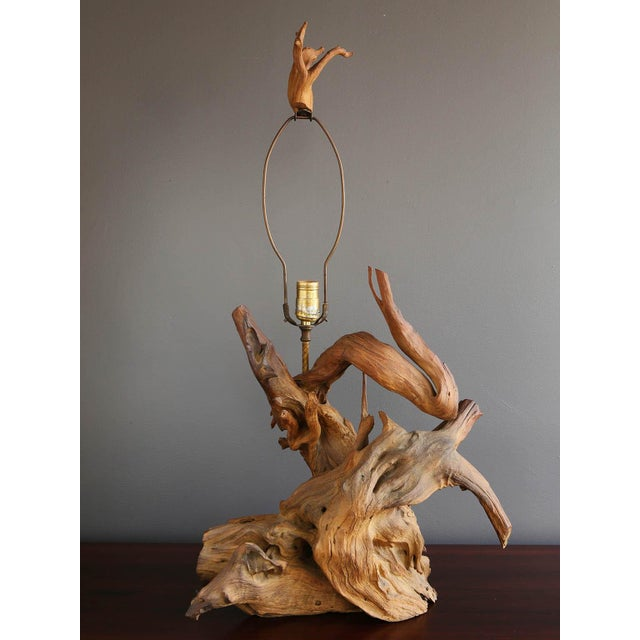 Driftwood Table Lamp with Woven Shade - Image 7 of 7