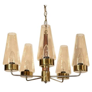 Mid-Century Modern Danish Chandelier in Teak and Brass For Sale