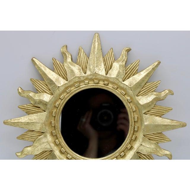 Mid Century Modern Gold Sunburst Mirror For Sale - Image 9 of 13