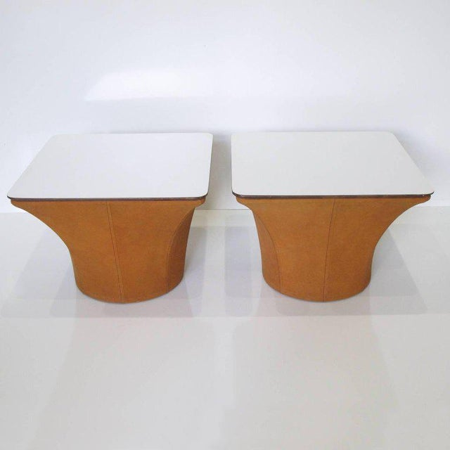 Lovely pair of Mid-Century modernist mushroom side tables reminiscent of Pierre Paulin work. Perfect minimalist design and...