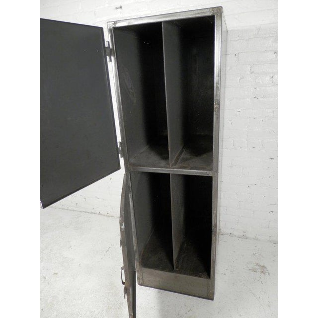 1940s Industrial Metal Mid-Century Two Door Locker For Sale - Image 5 of 6