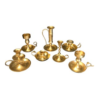 Vintage Brass Finger Loop Candle Holders - Set of 7 For Sale