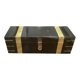 Deco Wood Box With Brass Details For Sale