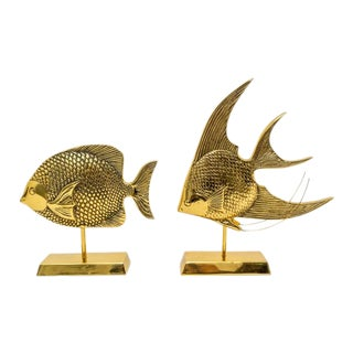 Tropical Fish Figure in Polished and Lacqered Brass - a Set of 2 For Sale