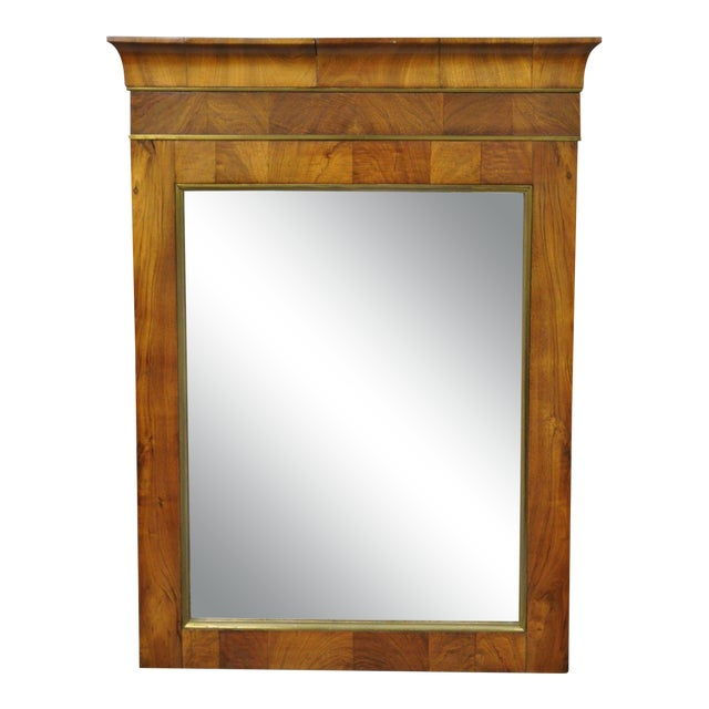19th Century Vintage American Empire Crotch Mahogany Looking Glass Wall Mirror For Sale