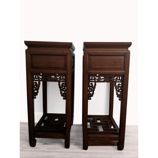Antique Chinese Rosewood Plant Stand/Side Table - Pair Preview