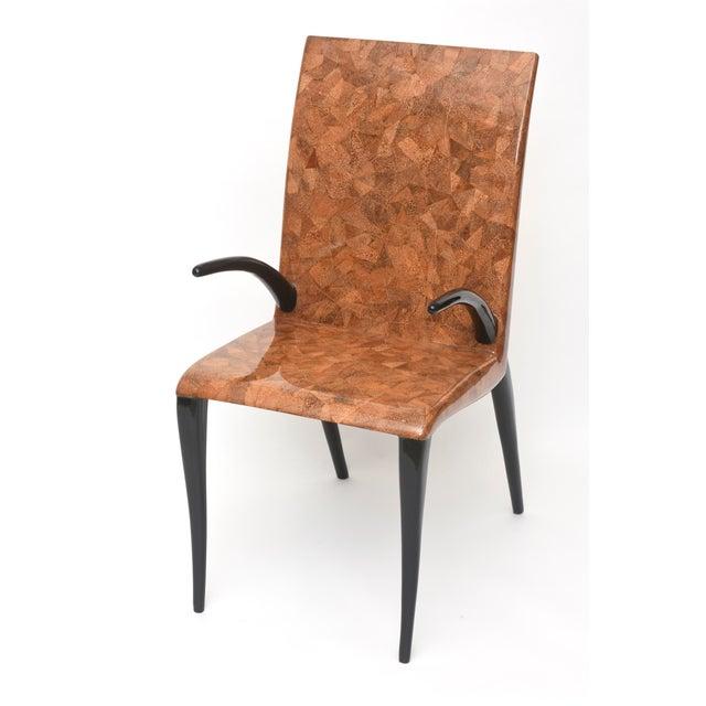Modern Rare R & Y Augousti Coconut, Tobacco and Ebony Armchair or Deskchair For Sale - Image 3 of 6