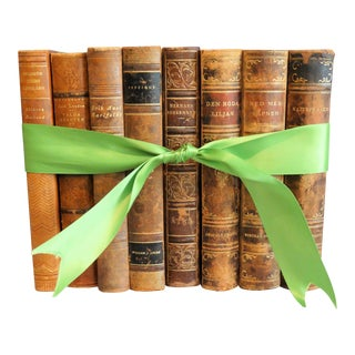 Decorative Leather Books, Set of 8, Marble Boards For Sale