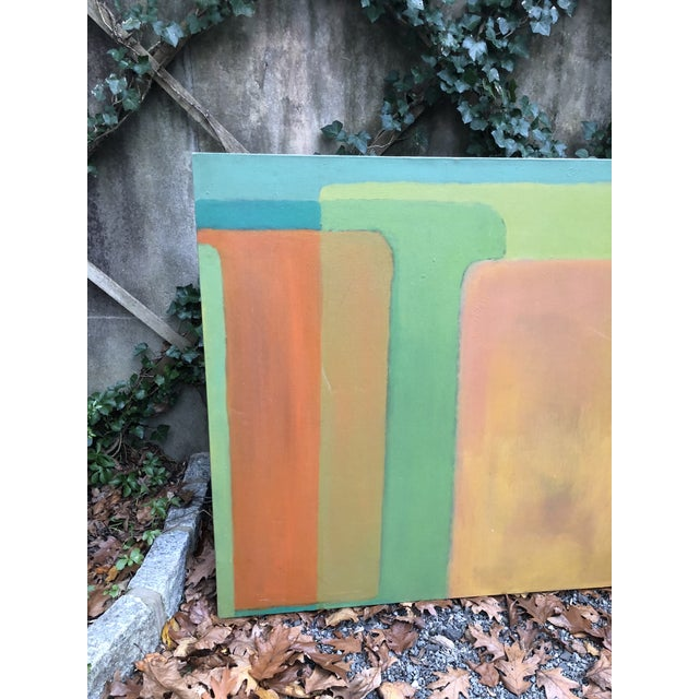 Large mid century modernist abstract in shades of green, turquoise and orange. Unsigned.