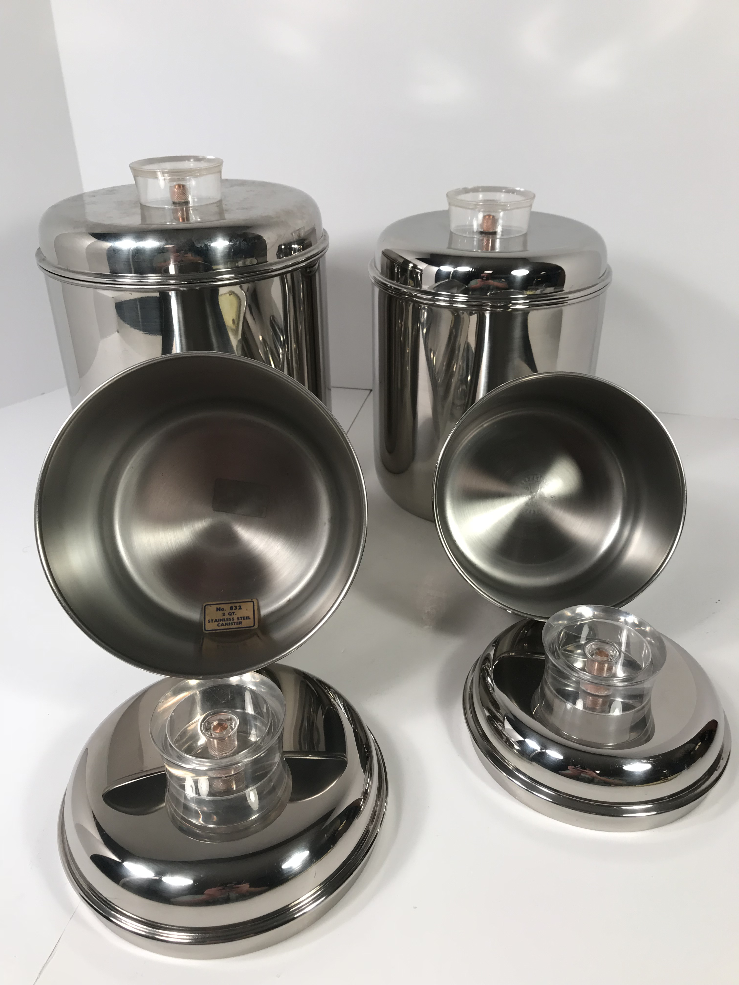 Revere Ware Stainless Steel Canisters   Set Of 4 For Sale   Image 4 Of 8
