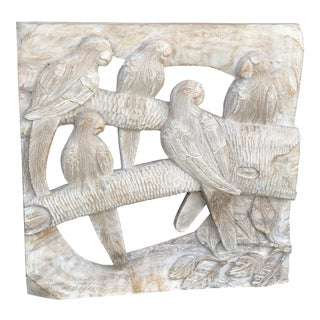 Vintage Sculptural Wood Carved Parrots Wall Hanging For Sale