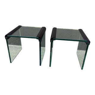 Leon Rosen for Pace Glass Side Tables - a Pair For Sale