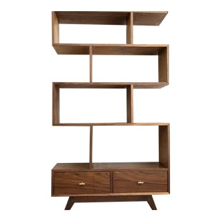 "Hand Crafted 36"" Walnut ""Staggered"" Bookcase For Sale"