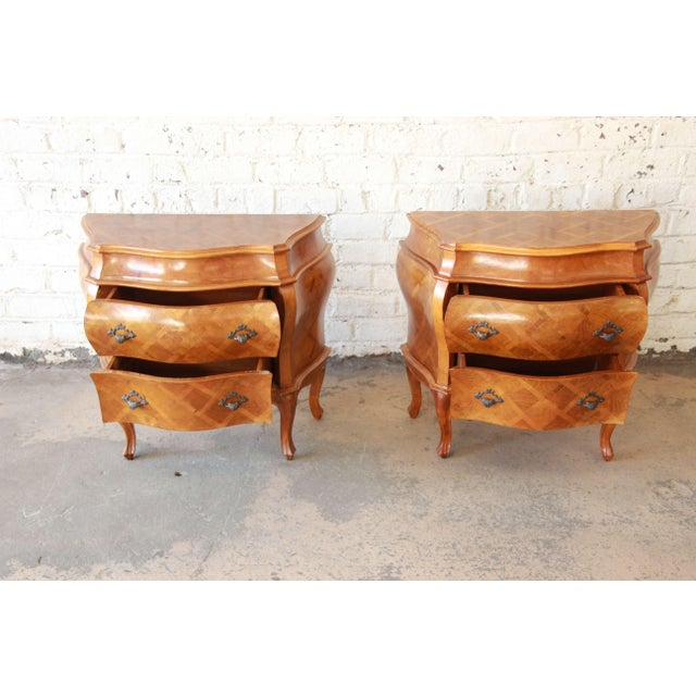 Wood Inlaid Italian Bombay Chest Nightstands - a Pair For Sale - Image 7 of 12