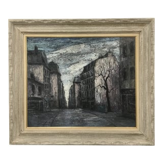 "Mid-Century ""European City Street"" Oil Painting on Canvas For Sale"