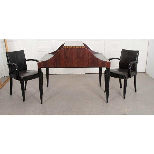 French Early 20th Century Art Deco Mahogany Partners Desk For Sale - Image 10 of 11