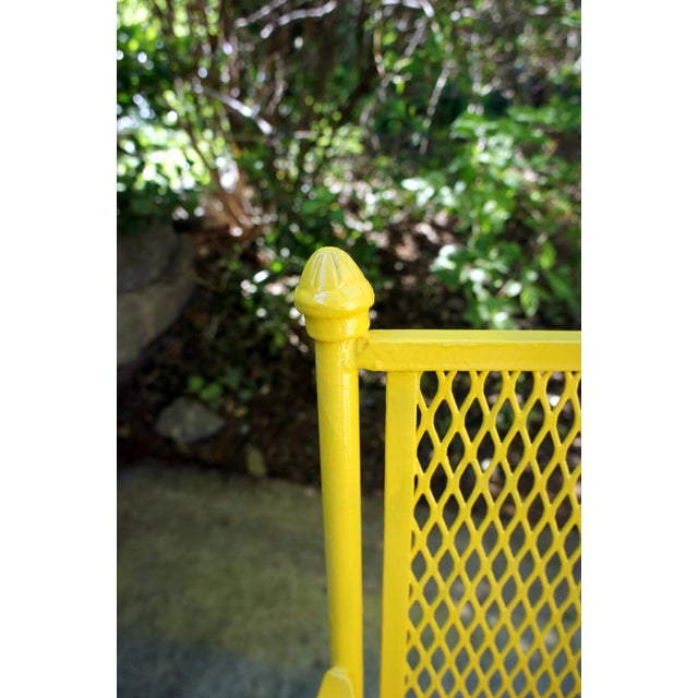 Vintage Mid Century Buttercup Yellow French Directoire Style Wrought Iron Patio Set- 5 Pieces For Sale - Image 11 of 13