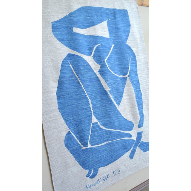 Henri Matisse Henri Matisse - Blue Nude 3 - Inspired Silk Hand Woven Flat Weave Area - Wall Rug 4′8″ × 6′10″ For Sale - Image 4 of 12