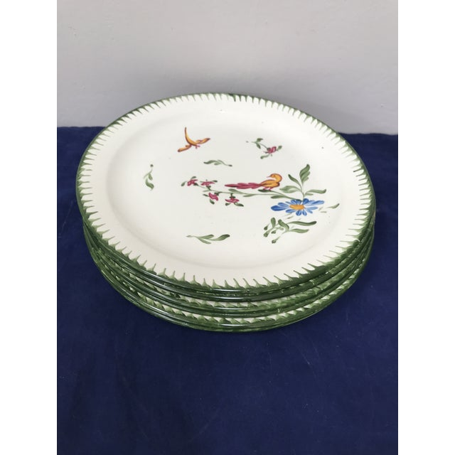 Ceramic Vintage French Faience Hand Painted Plates - Set of 6 For Sale - Image 7 of 7