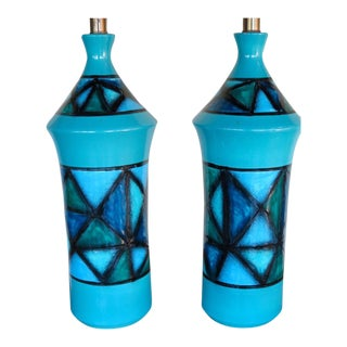 1960s Italian Ceramic Turquoise Lamps - a Pair For Sale