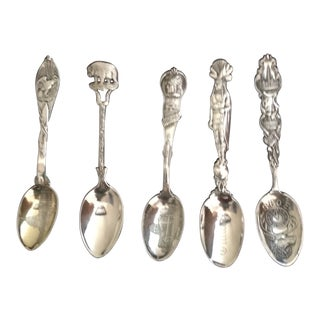 Five American Sterling Silver Souvenir Spoons, Circa 1900 For Sale