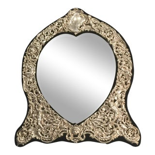 Vintage Louis XV Style Sterling Heart Shape Mirror For Sale