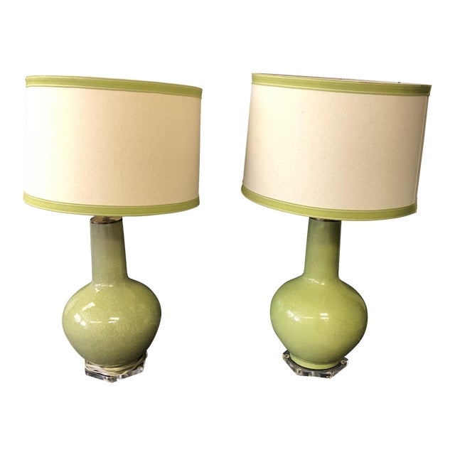 Custom Green Lamps with Shades - A Pair - Image 1 of 6