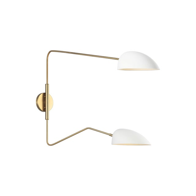 Mid-Century Modern Jane Double Task Sconce Matte White For Sale - Image 3 of 5