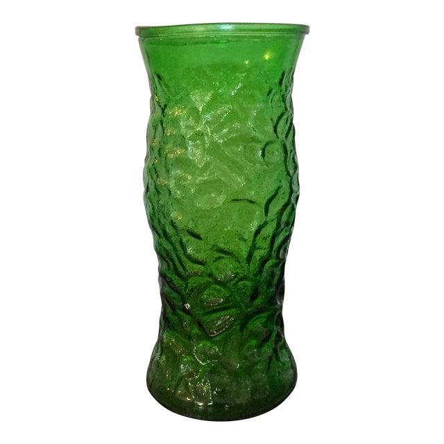 Large Mid Century Emerald Green Translucent Flower Vase By Hoosier