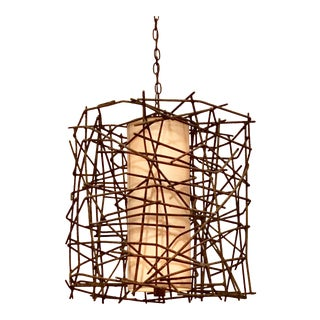 Currey & Co. Industrial Modern Rebar Pendant Prototype For Sale