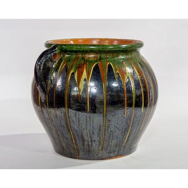 Large European Drip Glaze Black Ceramic Pot For Sale - Image 4 of 11