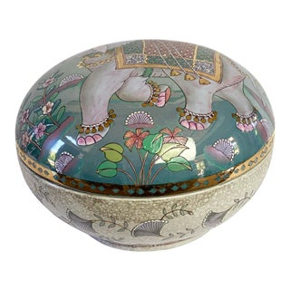 Vintage Chinoiserie Frederick Copper Elephant Porcelain Lidded Box For Sale