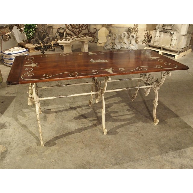 Cast Iron Antique French Wood and Iron Butchers Table, Late 19th Century For Sale - Image 7 of 13
