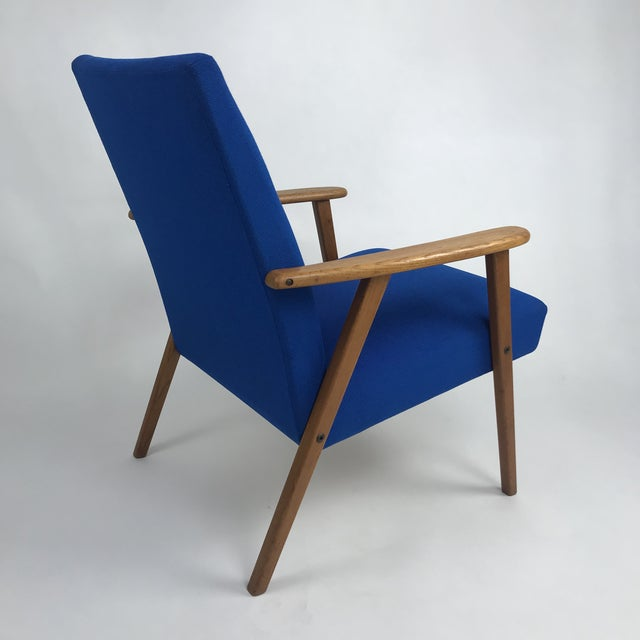 Fabric Royal Blue Swedish Modern Lounge Chair For Sale - Image 7 of 13