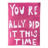 Image of You Really Did It This Time Pink Painting by Virginia Chamlee For Sale